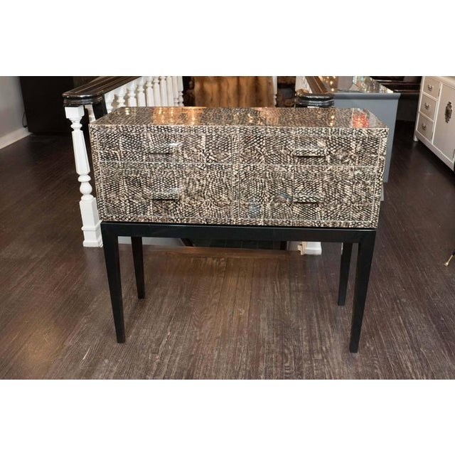 Golden Fish Skin Veneer Console Table For Sale - Image 9 of 9