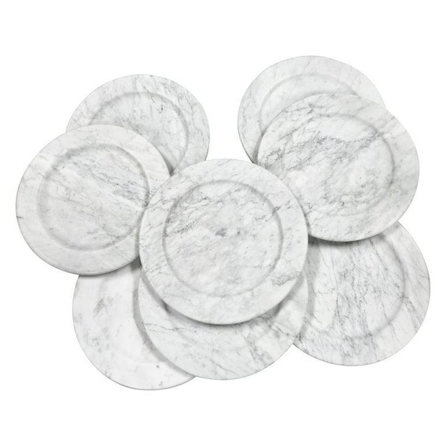White Set of 8 Carrara Marble Dinner Plates or Plate, Italy For Sale - Image 8 of 8