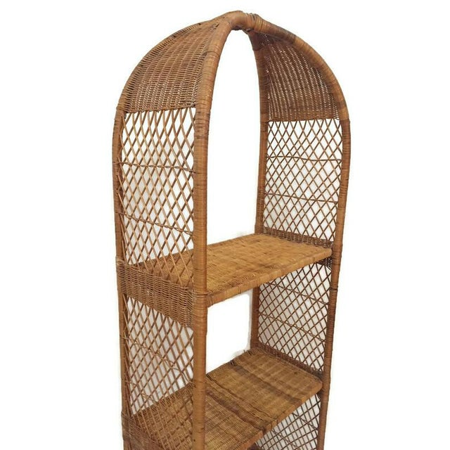 Vintage Domed Rattan Etagere Danny Fong Style For Sale - Image 10 of 12