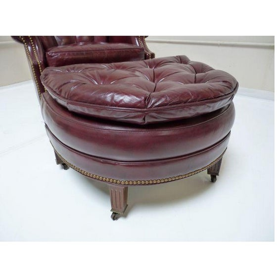 Hancock & Moore Chesterfield Chair & Ottoman - Image 5 of 8