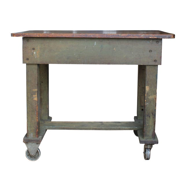 Green Weathered Workbench - Image 1 of 3
