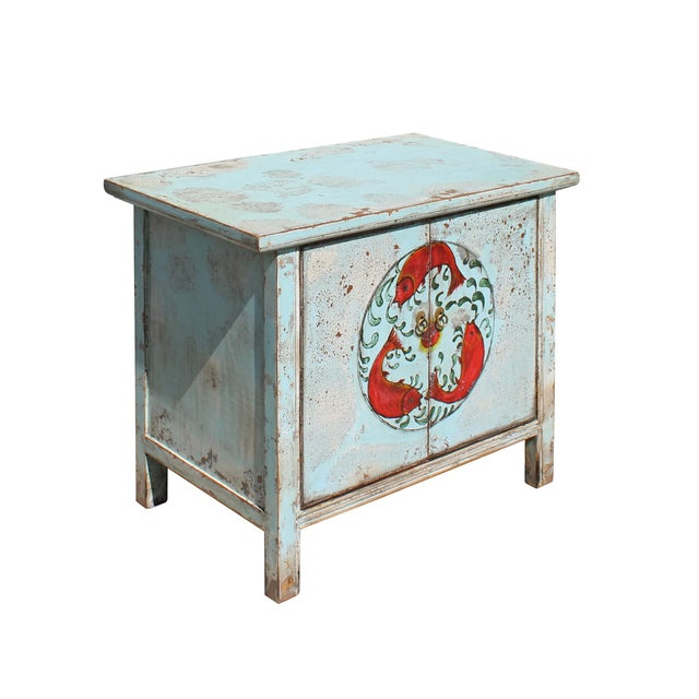 Chinese Distressed Light Pale Blue Fishes Graphic Table Cabinet For Sale - Image 4 of 8