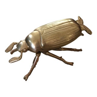Art Deco Solid Brass Egyptian Scarab Beetle Box