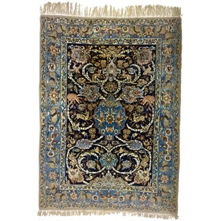 Vintage Iranian Isfahan Hand Knotted Silk Wool Carpet - 3′8″ × 5′1″ For Sale