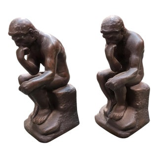 "Early 20th Century After Rodin ""The Thinker"" Cast Iron Bookends - a Pair For Sale"