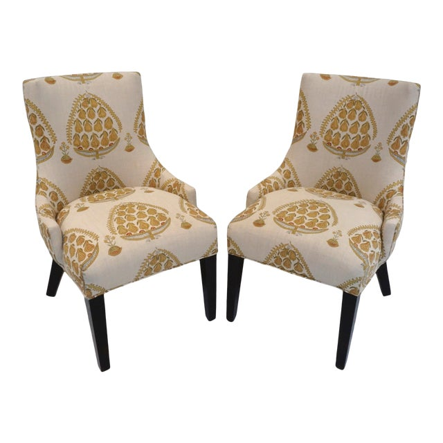 John Robshaw Upholstered Accent Chairs- a Pair For Sale