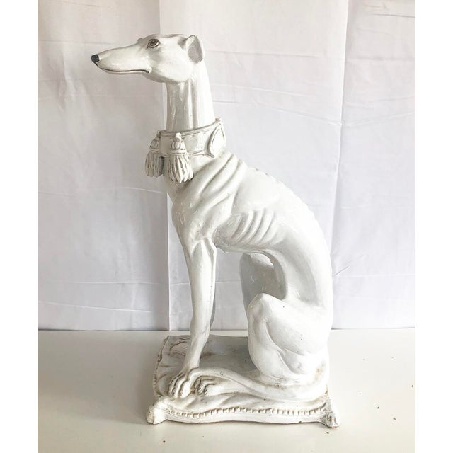 Large Scale Vintage Italian Whippet Dog Sculpture With Tassel Collar Sitting on Pillow For Sale - Image 13 of 13