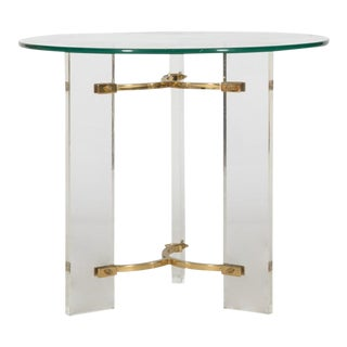 1970 Regency Lucite and Brass End Table For Sale