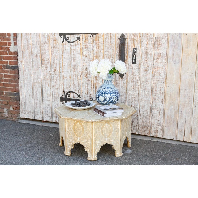 Farmhouse Charming Anglo Indian Farmhouse Lotus Inlaid Coffee Table For Sale - Image 3 of 13