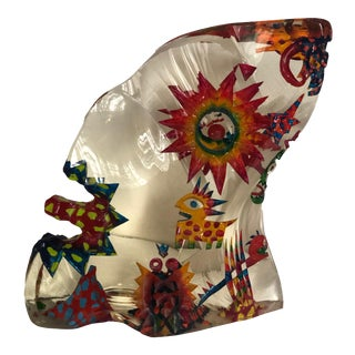Mid 20th Century Ceszlaw Zuber Painted Glass Sculpture For Sale