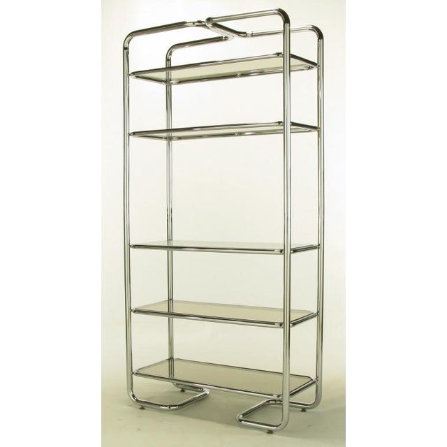 Tubular Chrome & Smoked Glass Five Shelf Etagere. - Image 3 of 10