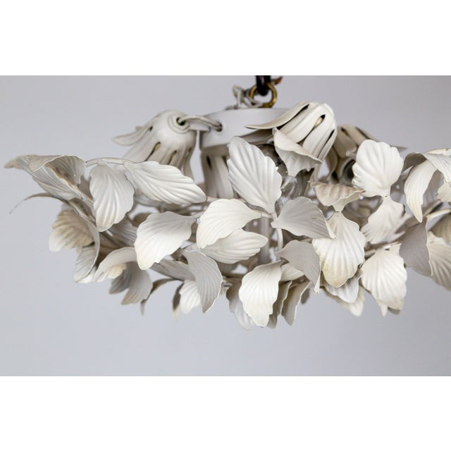 White Tole Leaf Cluster Low Relief Wall or Ceiling Lights - 3 Available For Sale - Image 4 of 9