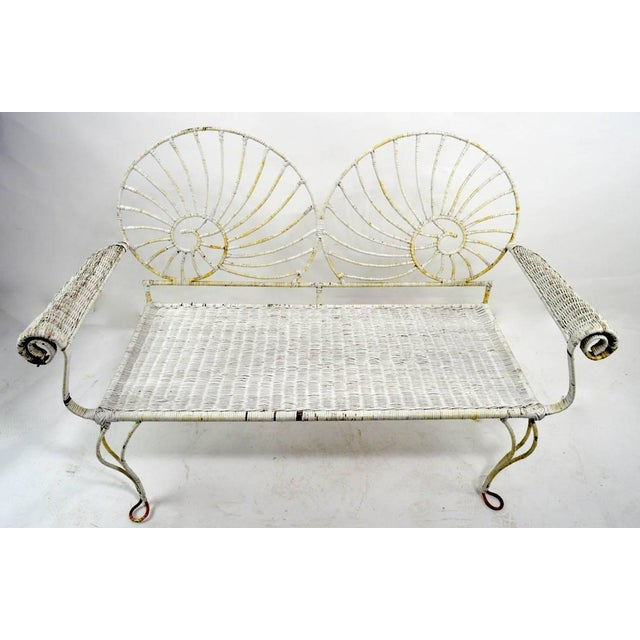 Wicker Nautilus Shell Back Wicker and Iron Garden Bench For Sale - Image 7 of 11