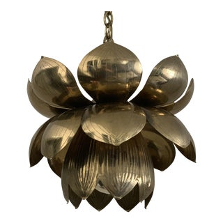 Mid Century Small Brass Lotus Light Pendant For Sale