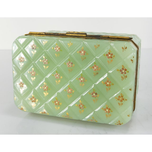 French Bronze Mounted Celadon Green Opaline Trinket Box For Sale In New York - Image 6 of 10