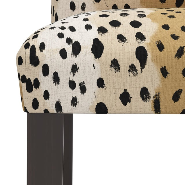 Not Yet Made - Made To Order Bar stool in Linen Leopard Caramel For Sale - Image 5 of 8