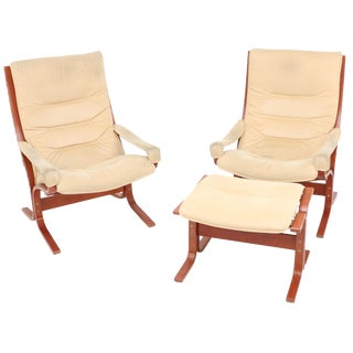 Ingmar Relling Siesta Chairs & Foot Stool - Set of 3 For Sale