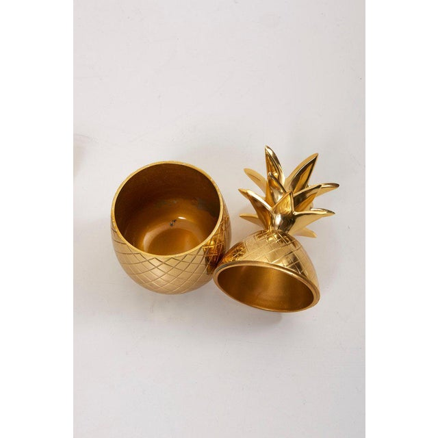 Gold Set of 3 Brass Pineapple Ice Buckets or Candy Boxes For Sale - Image 8 of 9