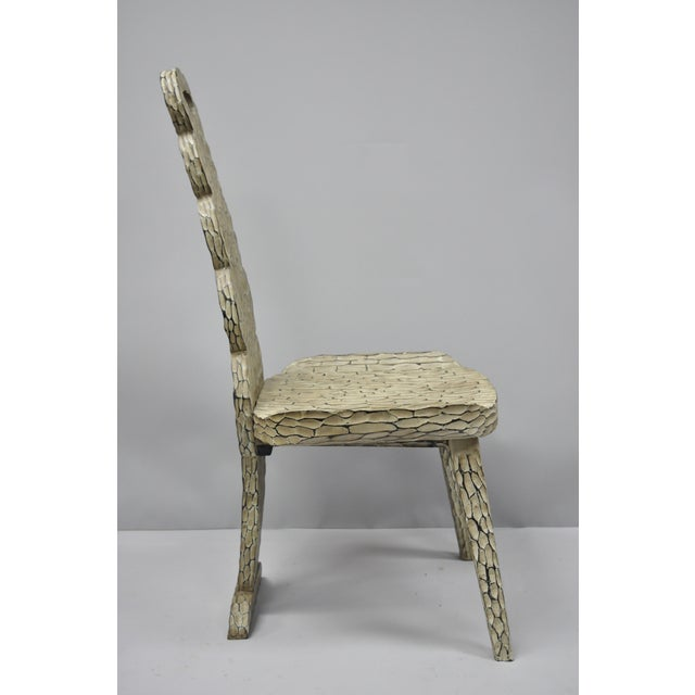 Contemporary High Back Carved Wood Side Chair For Sale - Image 4 of 12