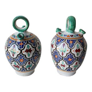 Moorish Ceramic Glazed Water Jug Handcrafted in Fez Morocco - a Pair For Sale