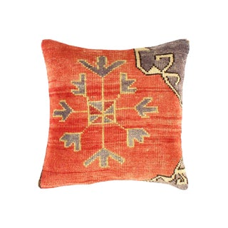 Vintage Turkish Pasargad Hand Knotted Rug Pillow For Sale