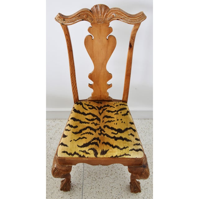 Wood Italian Scalamandre Le Tigre (Tiger) Velvet Side Chairs - Pair For Sale - Image 7 of 13