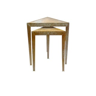 Mid-Century Modern Triangular Wood Nesting Tables - 2 Pieces For Sale