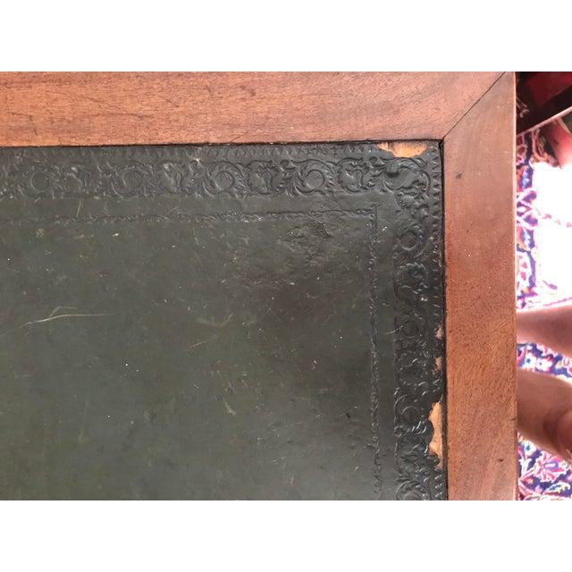 Antique Gothic Revival Oak Leather Top Partner's Desk For Sale In Washington DC - Image 6 of 12