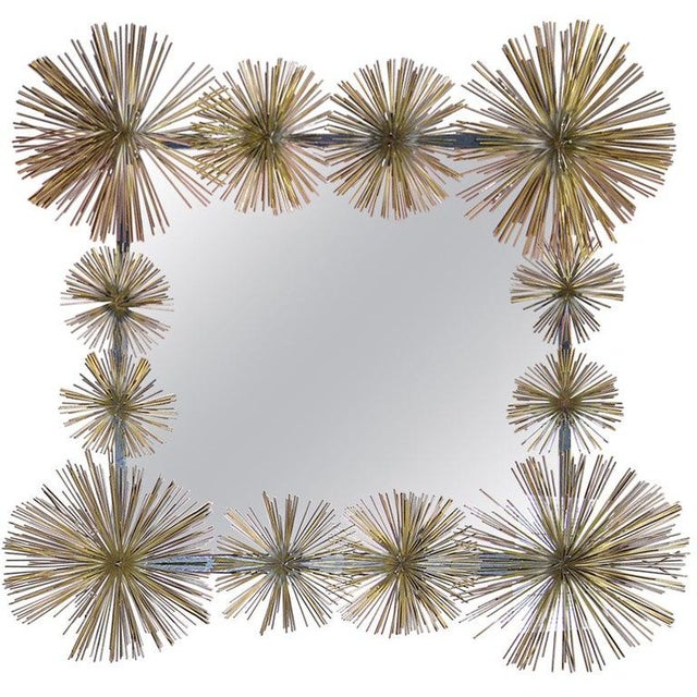 """1980s French Handcrafted Metal """"Pom-Pom"""" Wall Mirror For Sale - Image 5 of 5"""