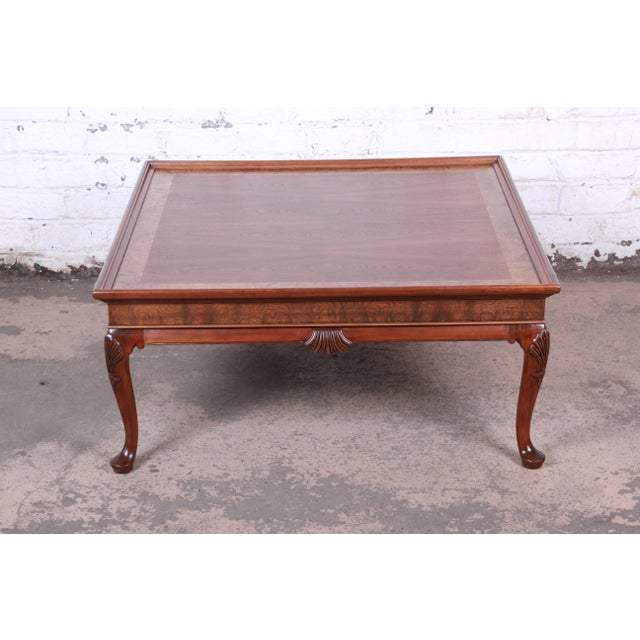 English Baker Furniture Queen Anne Walnut and Burl Wood Large Square Coffee Table, Newly Refinished For Sale - Image 3 of 11