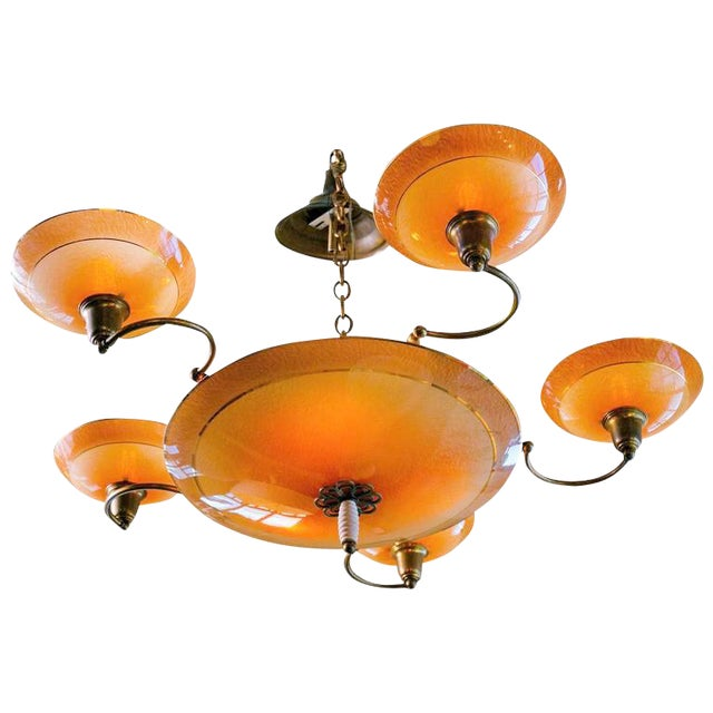 French Apricot Colored Glass Art Deco Chandelier with Five Arms and Eight Lights, circa 1940 For Sale
