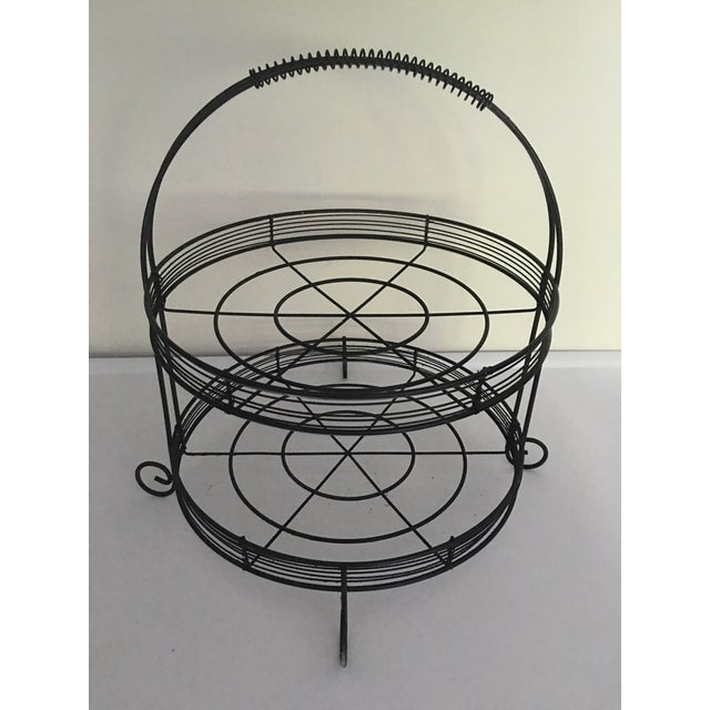 French Country Two-Tiered Wire Stand - Image 2 of 4