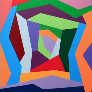 """""""Possibilities"""" Contemporary Geometric Hard Edge Acrylic Painting by Sassoon Kosian For Sale"""