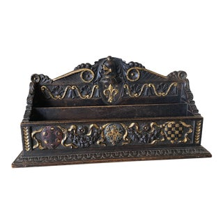 Vintage Italian Wood Early 20th Century Hand Carved Letter Holder For Sale