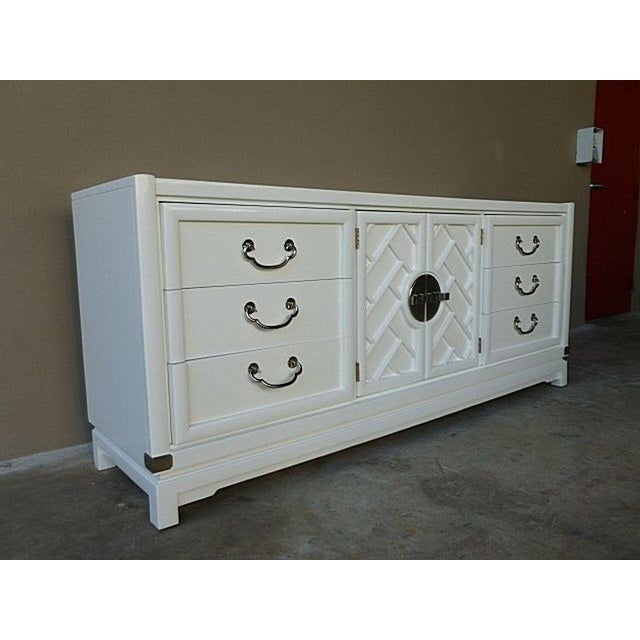 1970 S Chinese Chippendale White Sideboard With Chrome Hardware