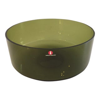 Iittala Smoked Green Glass Scandinavian Bowl For Sale