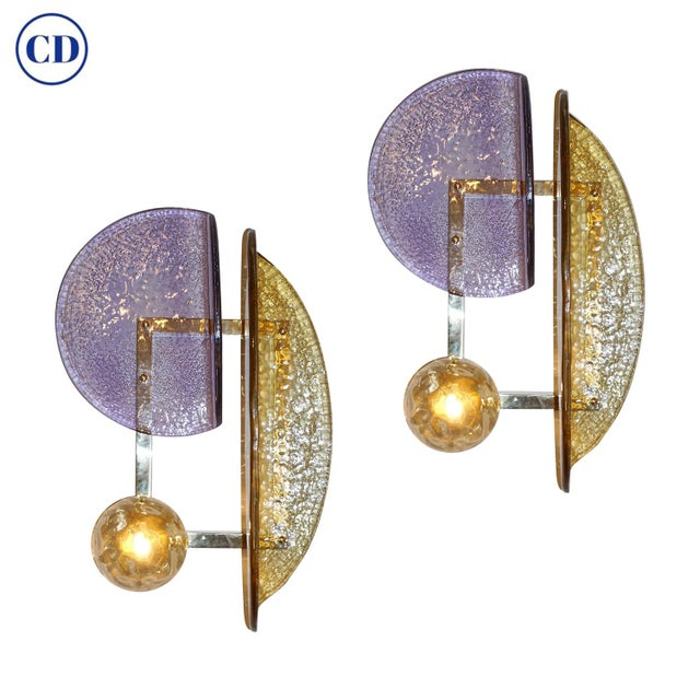 Contemporary Italian Amber and Amethyst Murano Glass Gold Brass Sconces - a Pair For Sale - Image 10 of 10