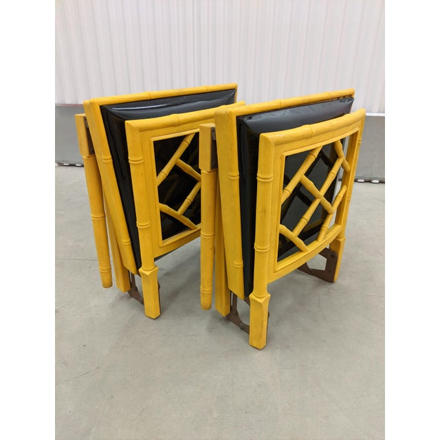 Yellow 1970s Hollywood Regency Faux Bamboo Folding Chairs - a Pair For Sale - Image 8 of 11