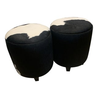 Black and White Hide Stools- A Pair For Sale