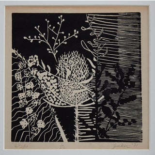 Black and White Botanical Woodcut Print Preview