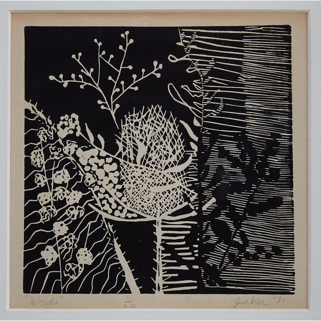"""Weeds"" woodcut, signed ""Zucker '71"", 11/20. Black print on antique white paper, black wood frame, white matt board, under..."