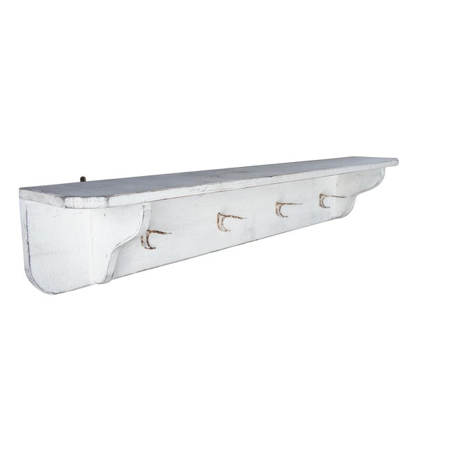 20th Century Country White Oak Wall Mount Hanging Shelf For Sale