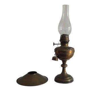 Fine Early 19thc Brass Oil Lamp With Original Glass Globe For Sale