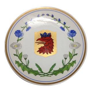 Upsala Ekeby Swedish Red Crown Eagle Dragon Daisy Cornflower Wall Plate For Sale