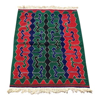 Green and Red Vintage Turkish Kilim Rug For Sale