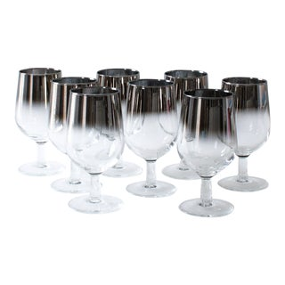 Silver Ombre Wine Glasses - Set of 8 For Sale