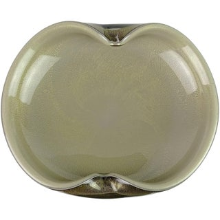 Alfredo Barbini Murano Black Gray Gold Flecks Italian Art Glass Centrepiece Bowl For Sale