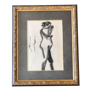 Vintage Original Modernist Female Nude Sketch Mid Century For Sale