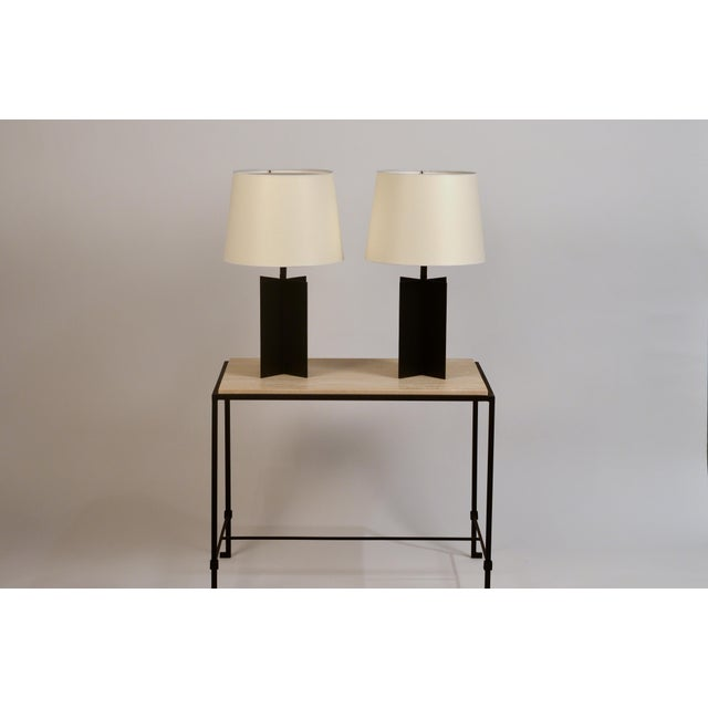 DESIGN FRERES Medium 'Croisillon' Matte Black Steel Table Lamps by Design Frères - a Pair For Sale - Image 4 of 11