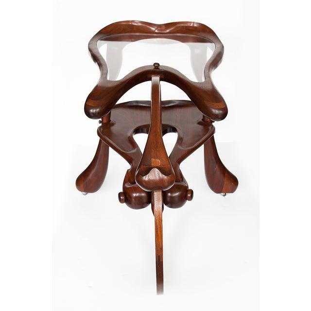 Vintage Studio Sculptural Carved Walnut Bar Cart - Image 5 of 10